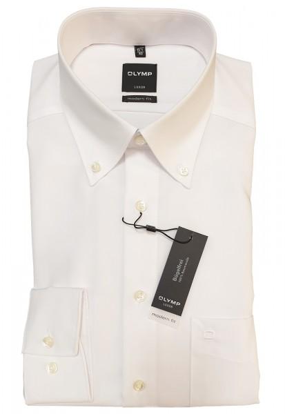 Langarm-Hemd OLYMP Luxor modern fit, Button-Down, weiß
