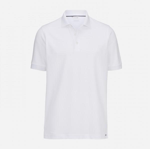 OLYMP Herren-Poloshirt Piqué, weiß