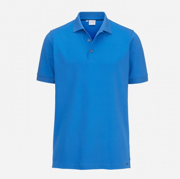 OLYMP Herren-Poloshirt Piqué, mittelblau