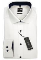 Langarm-Hemd OLYMP Luxor modern fit, weiß/marine