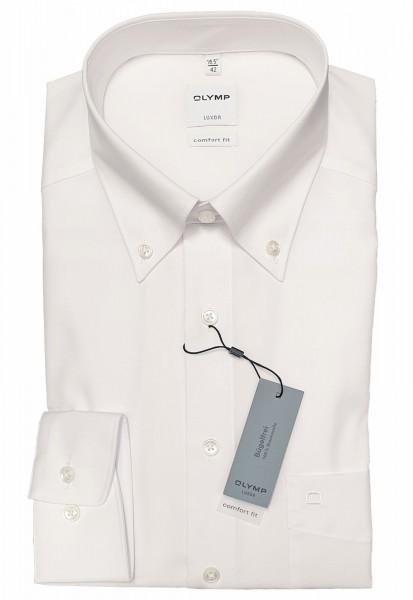 Langarm-Hemd OLYMP Luxor comfort fit, Button-Down, weiß