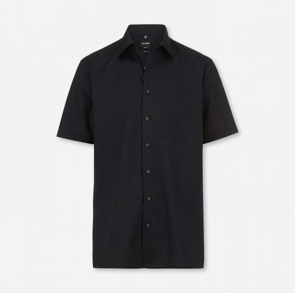 Hemd OLYMP Luxor modern fit, Kurzarm, schwarz