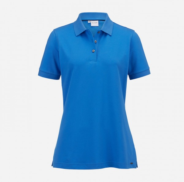 OLYMP Damen-Poloshirt Piqué, mittelblau