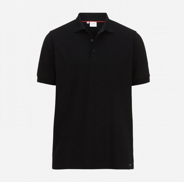 OLYMP Herren-Poloshirt Piqué, schwarz