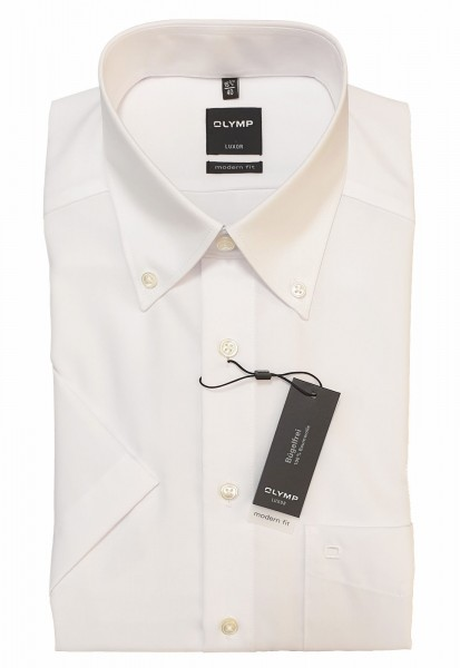 Kurzarm-Hemd OLYMP Luxor modern fit, Button-Down, weiß