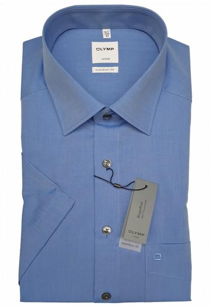 Kurzarm-Hemd OLYMP Luxor comfort fit, mittelblau